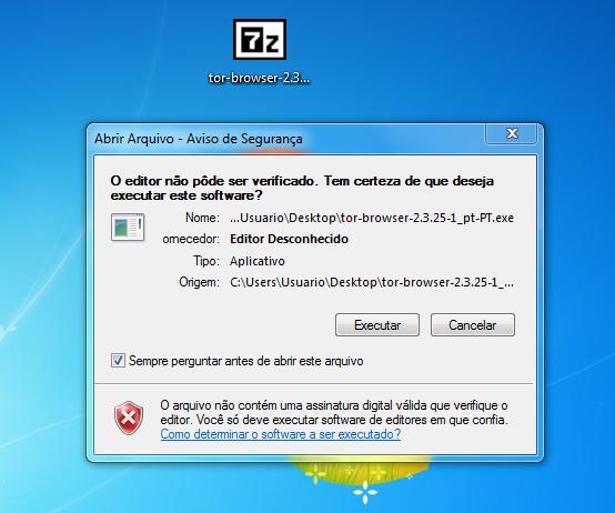 Tela de execução do instalador do TOR navegador da Deep Web