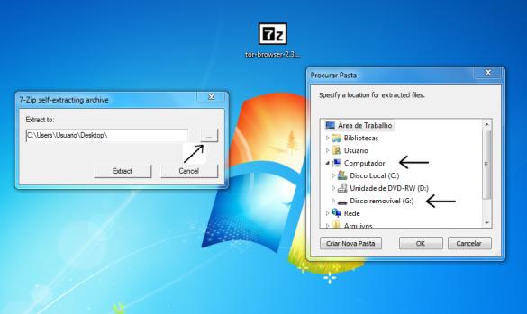 Tela de extração dos arquivos do pacate zip de instalacao do navegador da Deep Web TOR