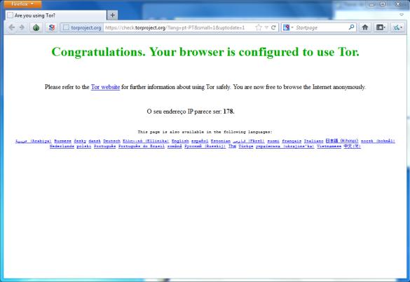 Tela de configuração do navegador TOR