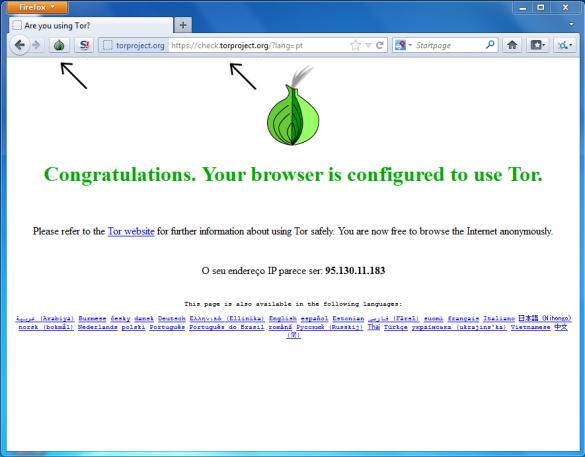 Tela de configuração do navegador Deep Web TOR