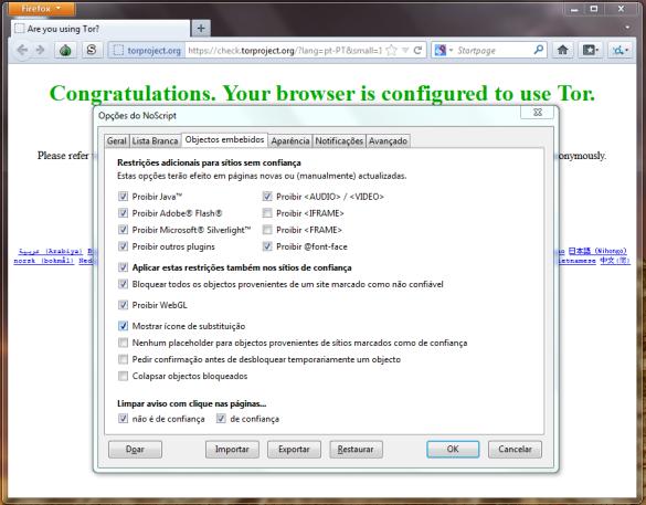 Tela de configuração do navegador TOR para Deep Web