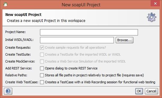 Tela para criar um novo projeto de teste de web service na ferramenta SoapUI