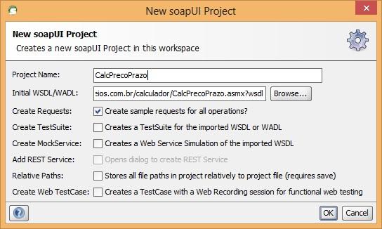 Tela de criação de um novo projeto de web service