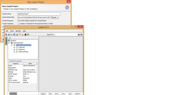 Tela de importação do web service dos correios na ferramenta de testes SoapUI