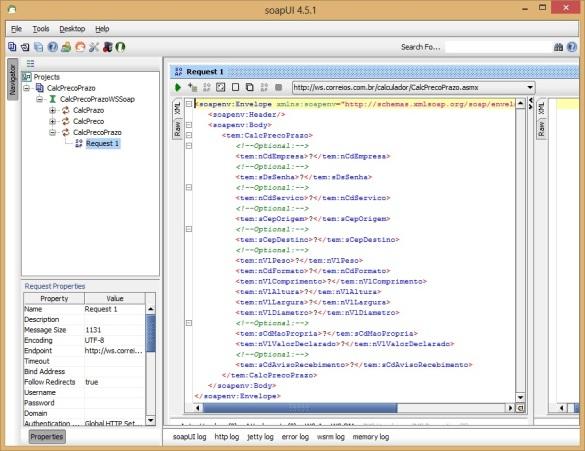 Instrução XML para operação Request criado pelo SoapUI