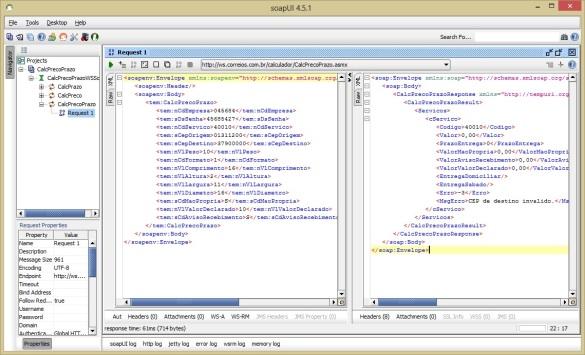 Tela de envio de requisição ao web service de calculo de frete dos correios usando a ferramente de testes SoapUI
